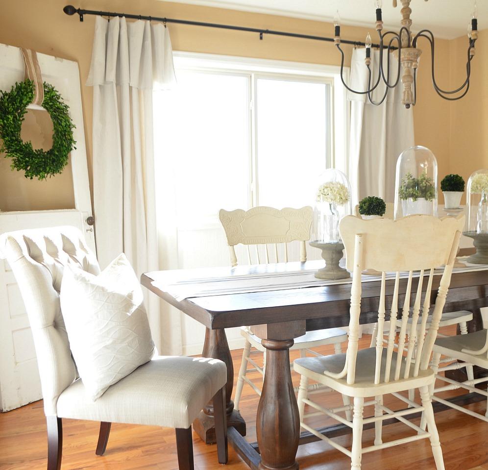 Modern Farmhouse Dining Room Makeover - Little Vintage Nest on Dining Room Curtains Farmhouse  id=61518