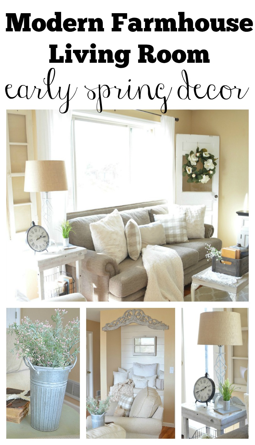 Modern Farmhouse living room decorated with early spring decor. Great ideas to decorate your home for late winter and early spring!