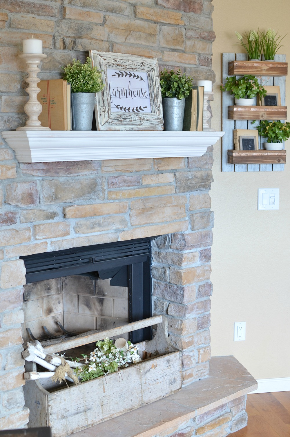 Refreshed modern farmhouse living room little vintage nest for Farmhouse fireplace decor