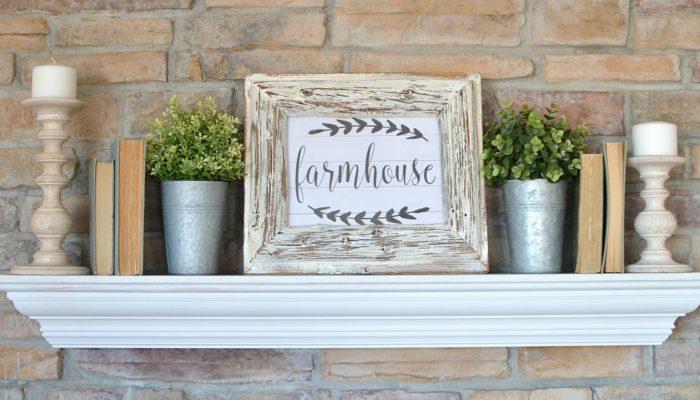 Simple Farmhouse Mantel + Free Printable
