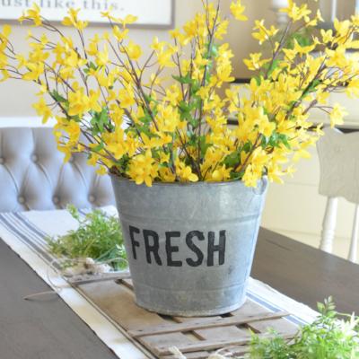DIY Bucket of Flowers Spring Centerpiece