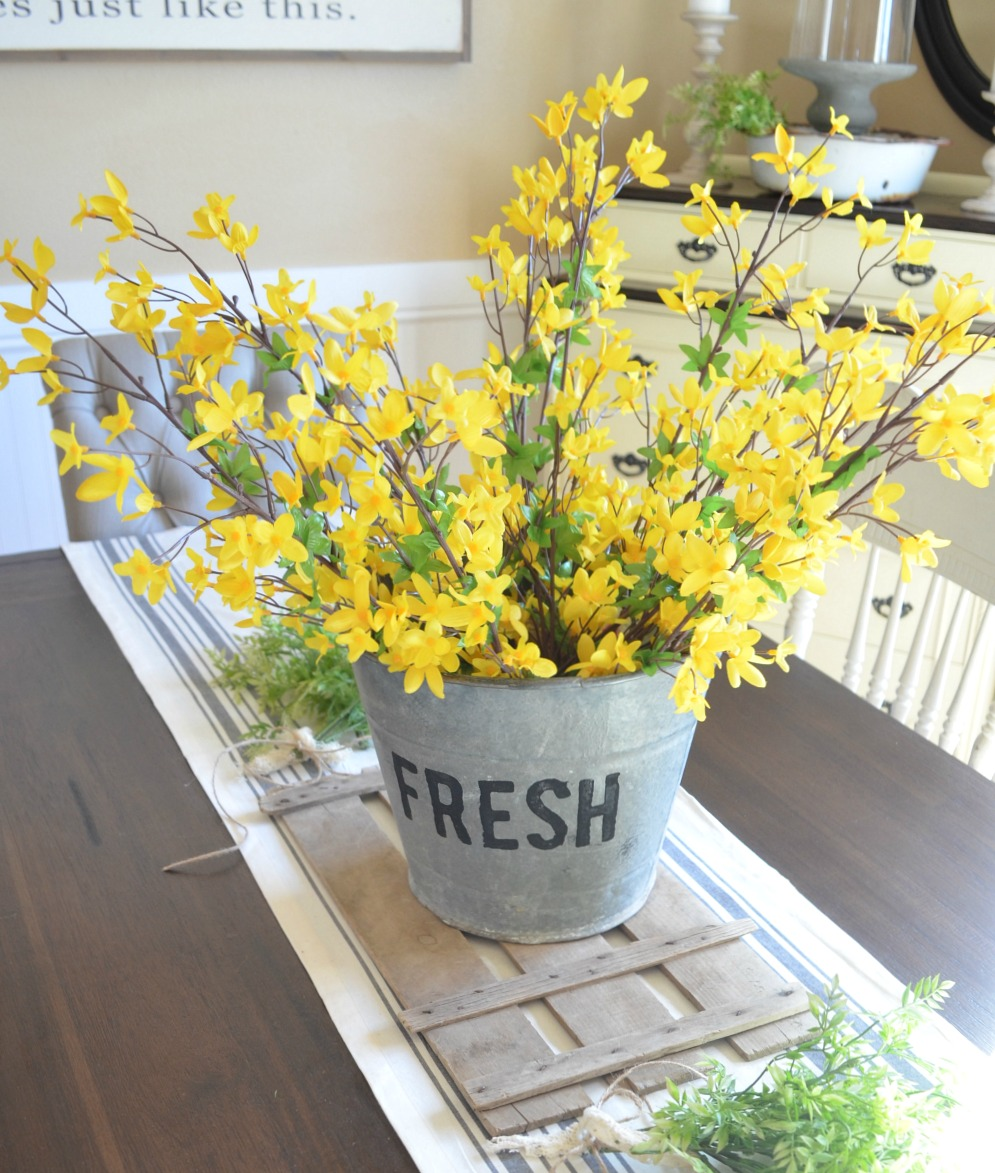 DIY Bucket of Flowers Spring Centerpiece