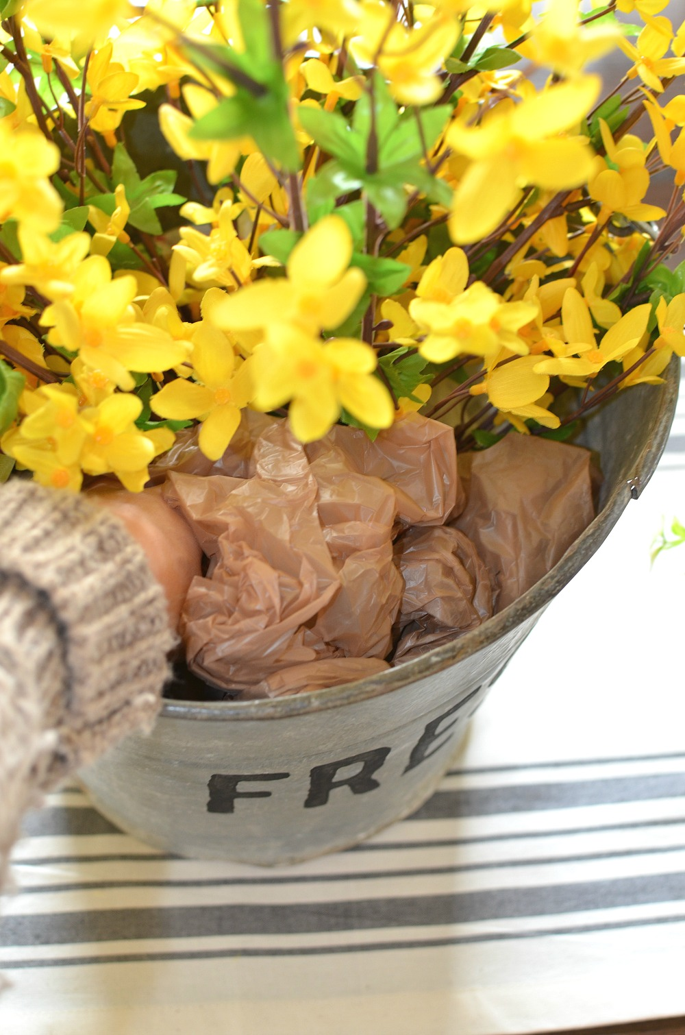 DIY Fresh Bucket of Flowers Centerpiece