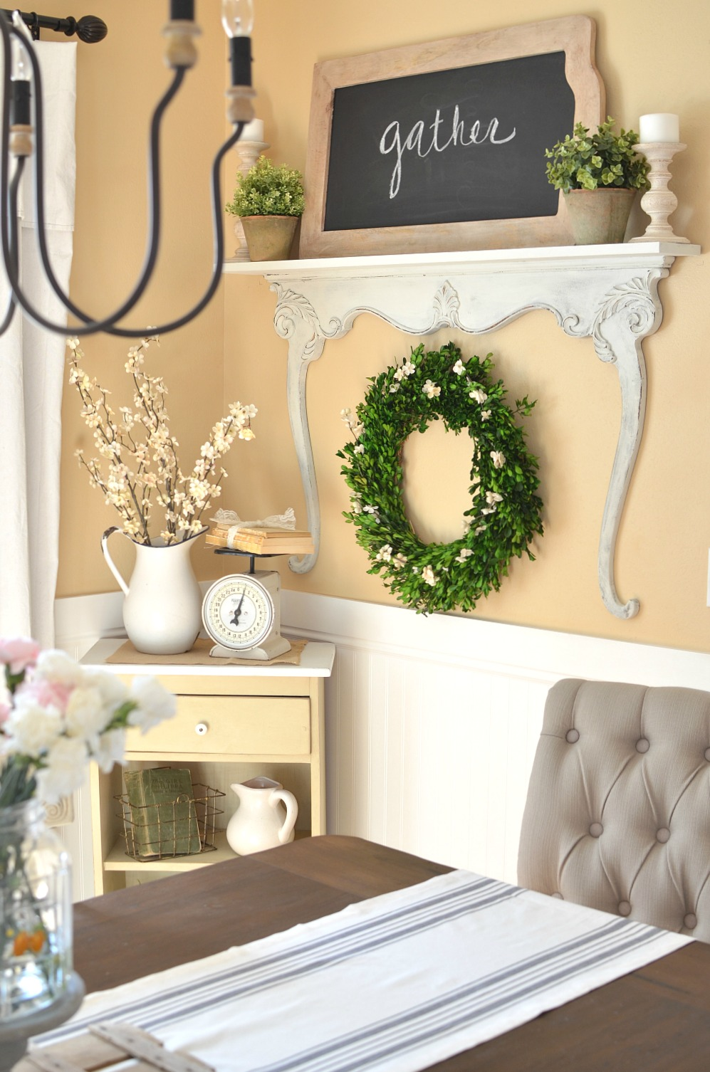 DIY Shelf with Vintage Dresser Harp. Vintage farmhouse style shelf and decor.