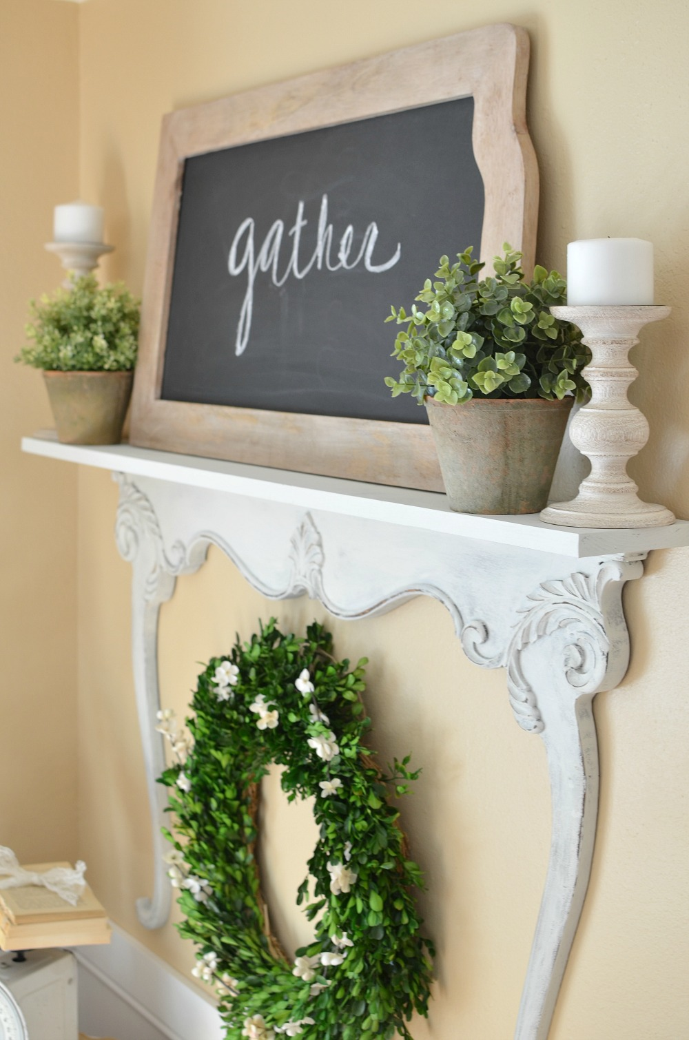 Great DIY shelf made with old dresser harp. Vintage farmhouse style decor.