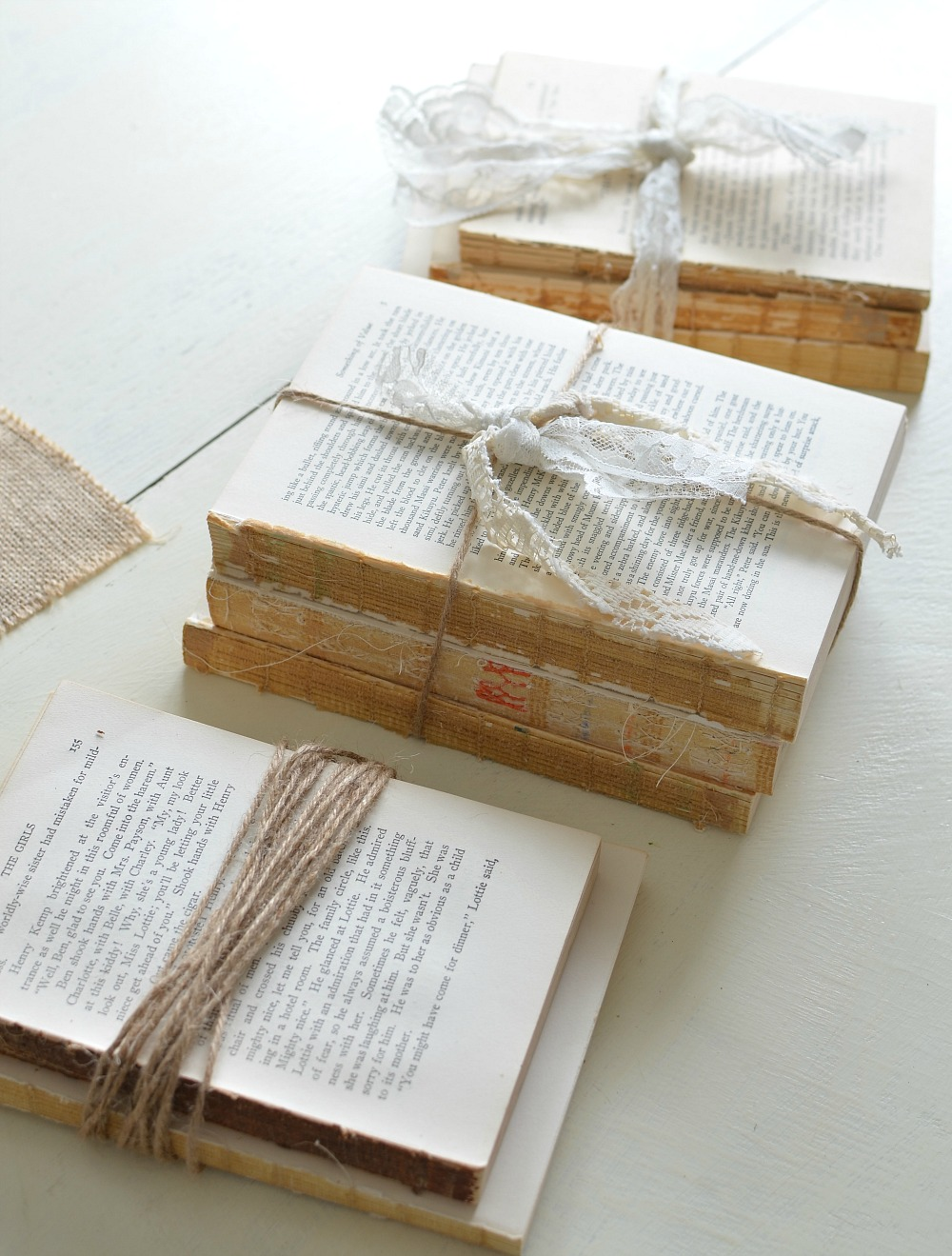 Uncategorized Book Decor farmhouse decor on a budget diy unbound vintage books wrapped in twine
