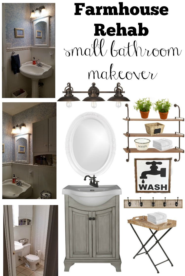 Farmhouse rehab small bathroom makeover for Bathroom decor farmhouse
