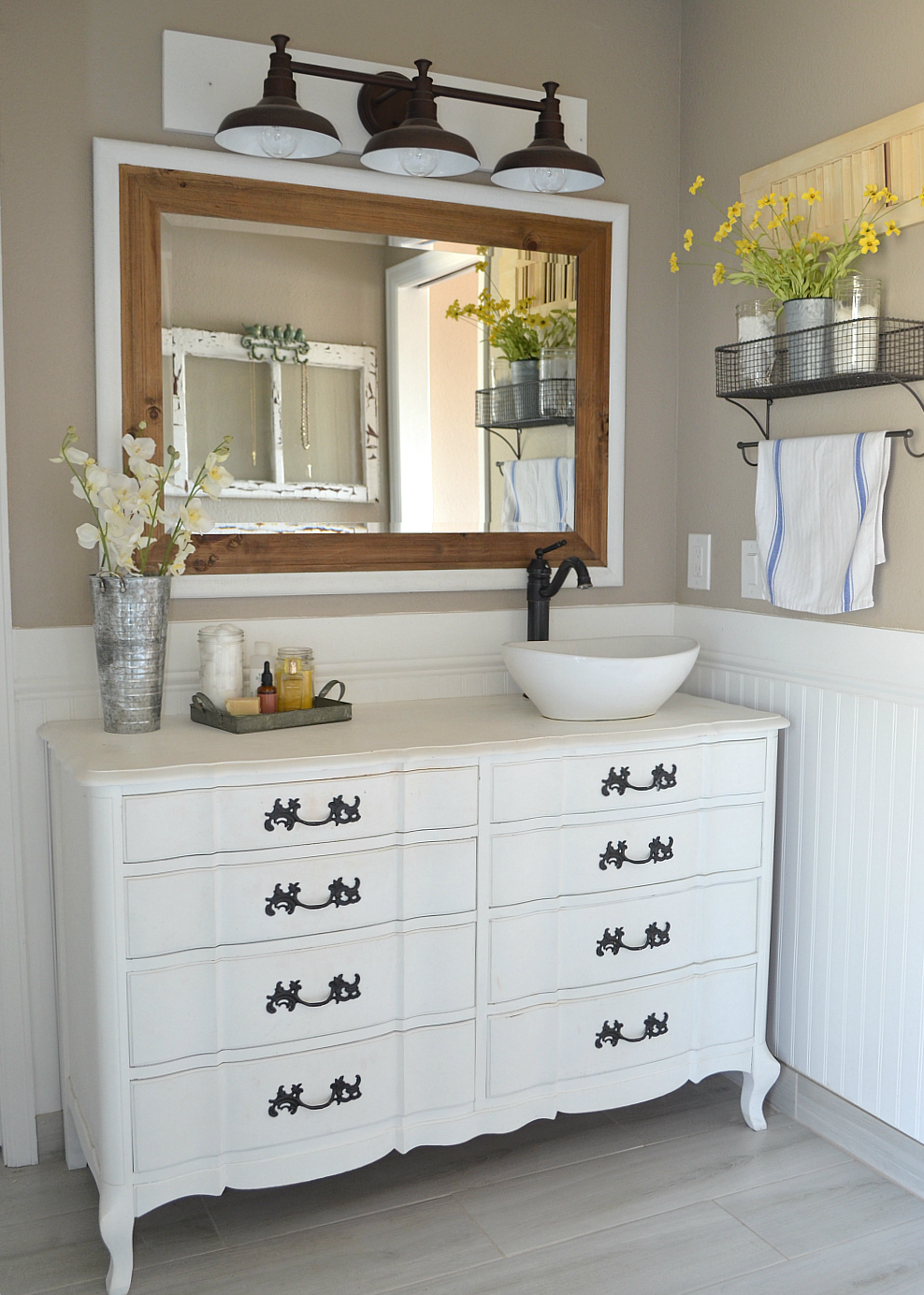 a modern farmhouse bathroom an honest review of chalk painted bathroom vanities - Farmhouse Bathroom Vanity