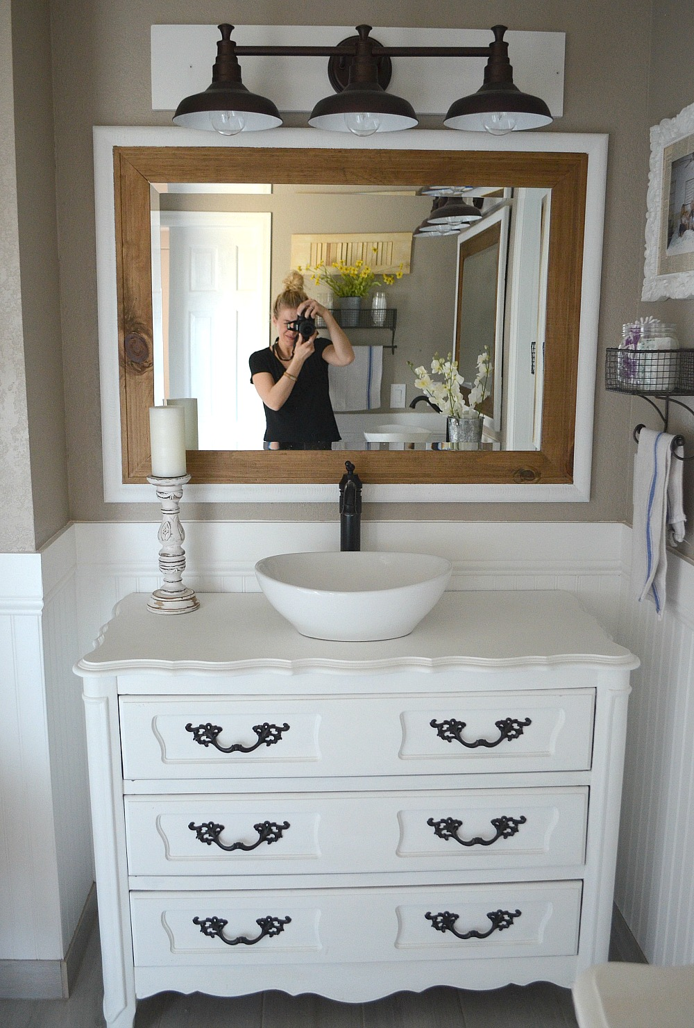 Modern farmhouse bathroom. Review of chalk painted vanities by Little  Vintage Nest.
