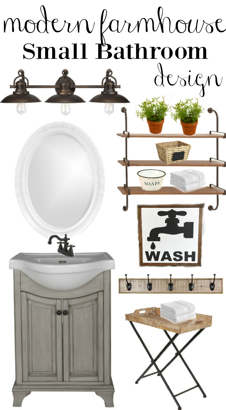 Farmhouse rehab small bathroom makeover for Bathroom decor designs