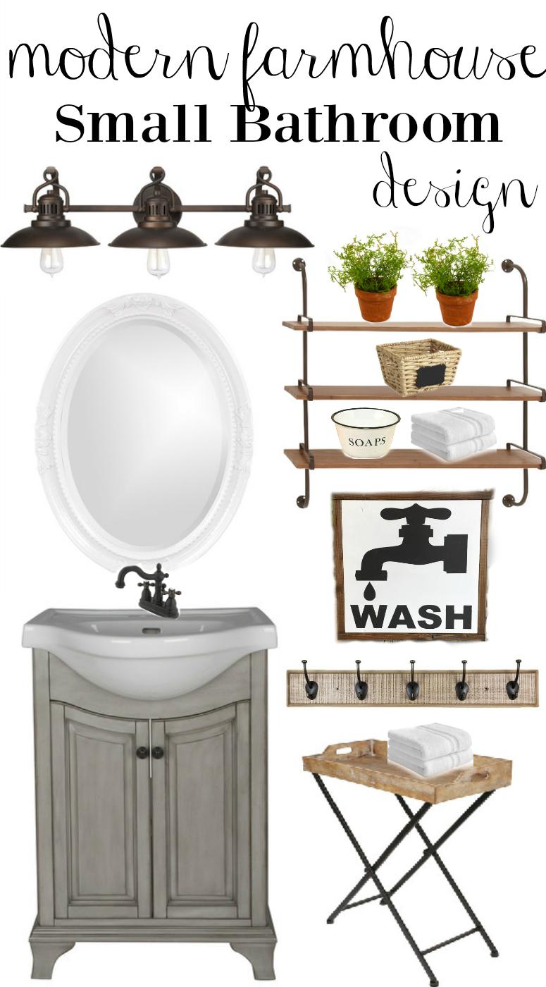Modern Farmhouse Small Bathroom Design - Little Vintage Nest