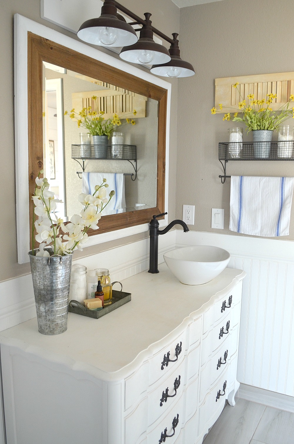 Honest Review of My Chalk Painted Bathroom Vanities on Modern Farmhouse Shower  id=63323