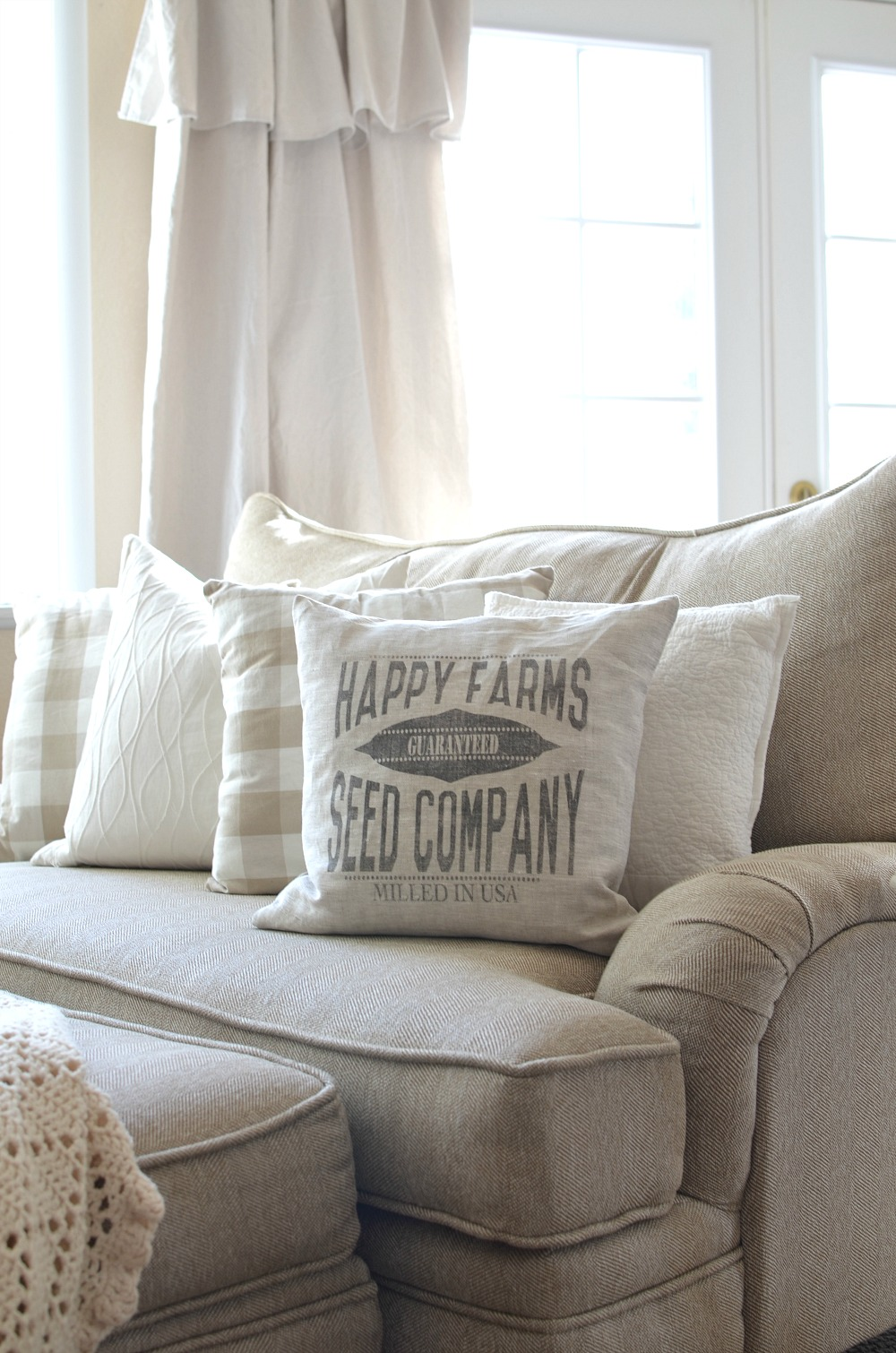 Farmhouse Decor and Pillow--Happy Farm Seed Company Pillow