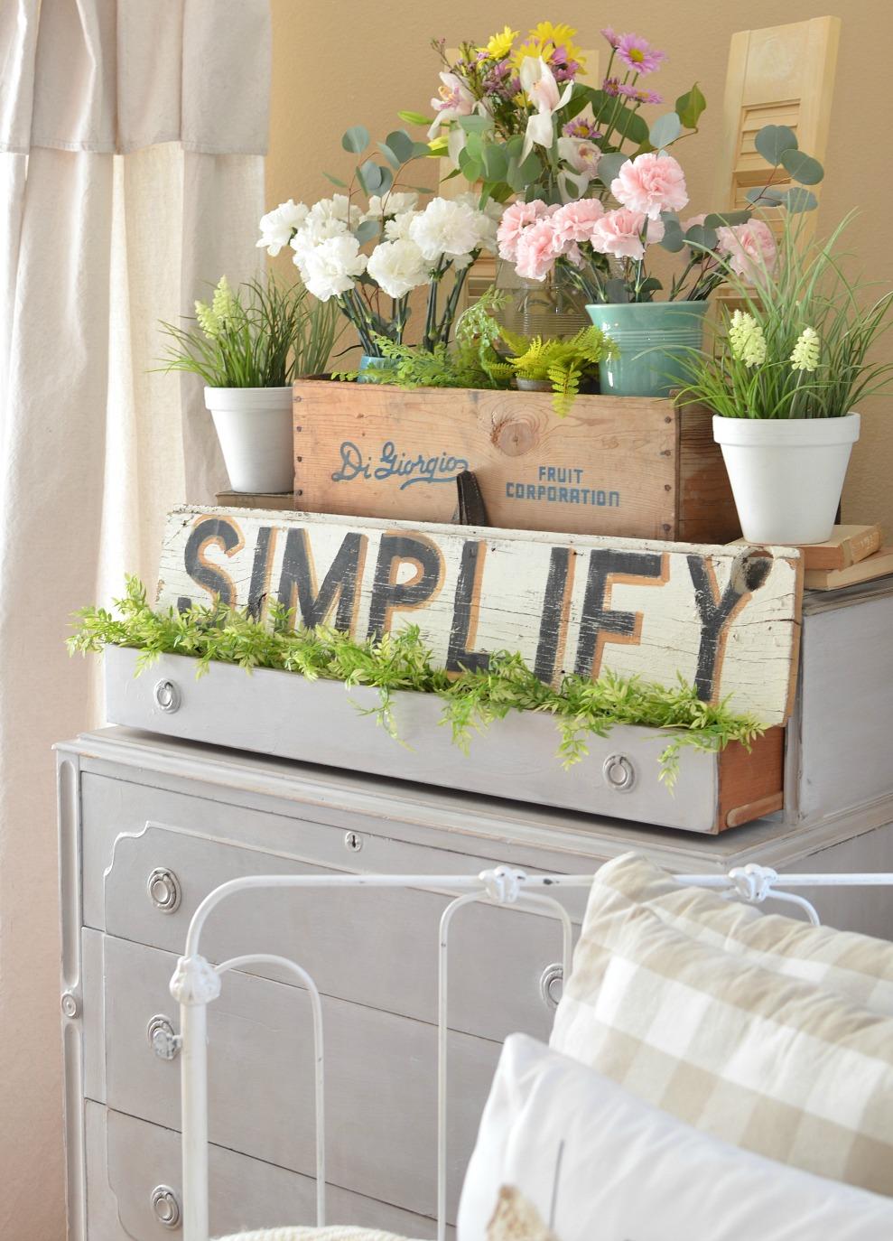 A Vintage Dresser and a Pretty Spring Vignette