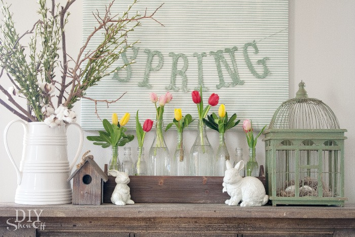 Farmhouse Style Easter Decor Ideas. Easter Mantel idea.