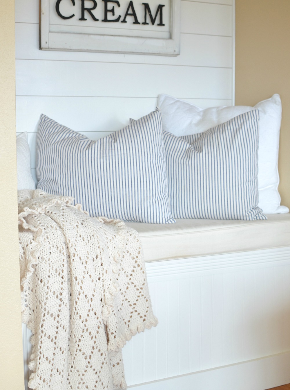 Friday Favorites: Vintage goose down pillows with blue striped ticking fabric