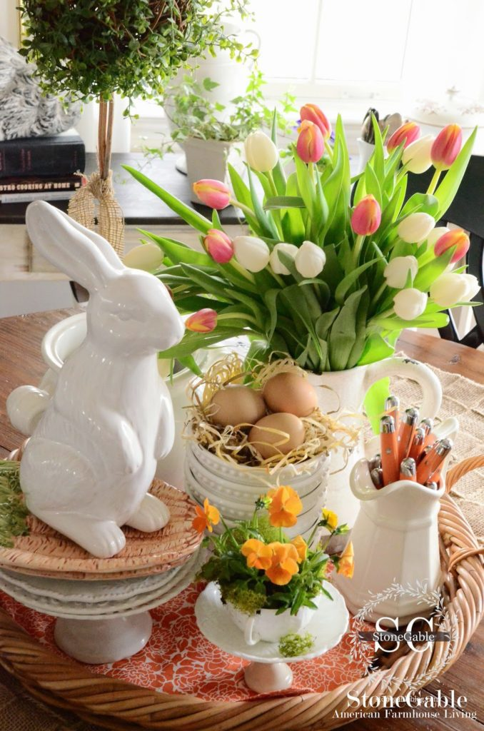 Farmhouse style Easter decor idea.