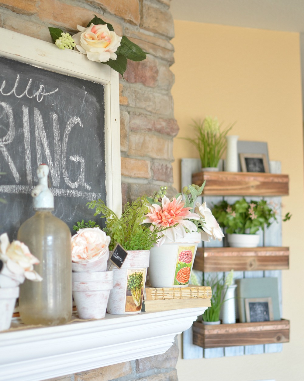 Vintage Farmhouse Spring Mantel