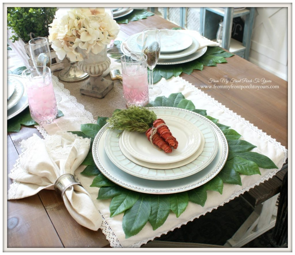Farmhouse Style Easter Decor Ideas. Great idea for an Easter tablescape!