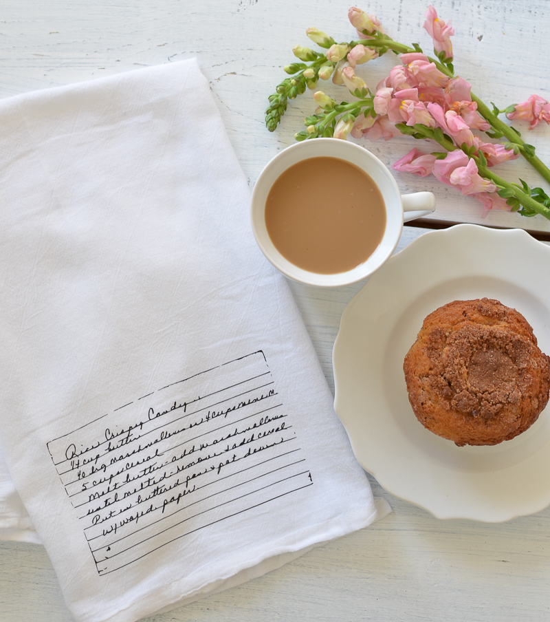 Personalized Farmhouse Tea Towel with Vintage Recipe Card