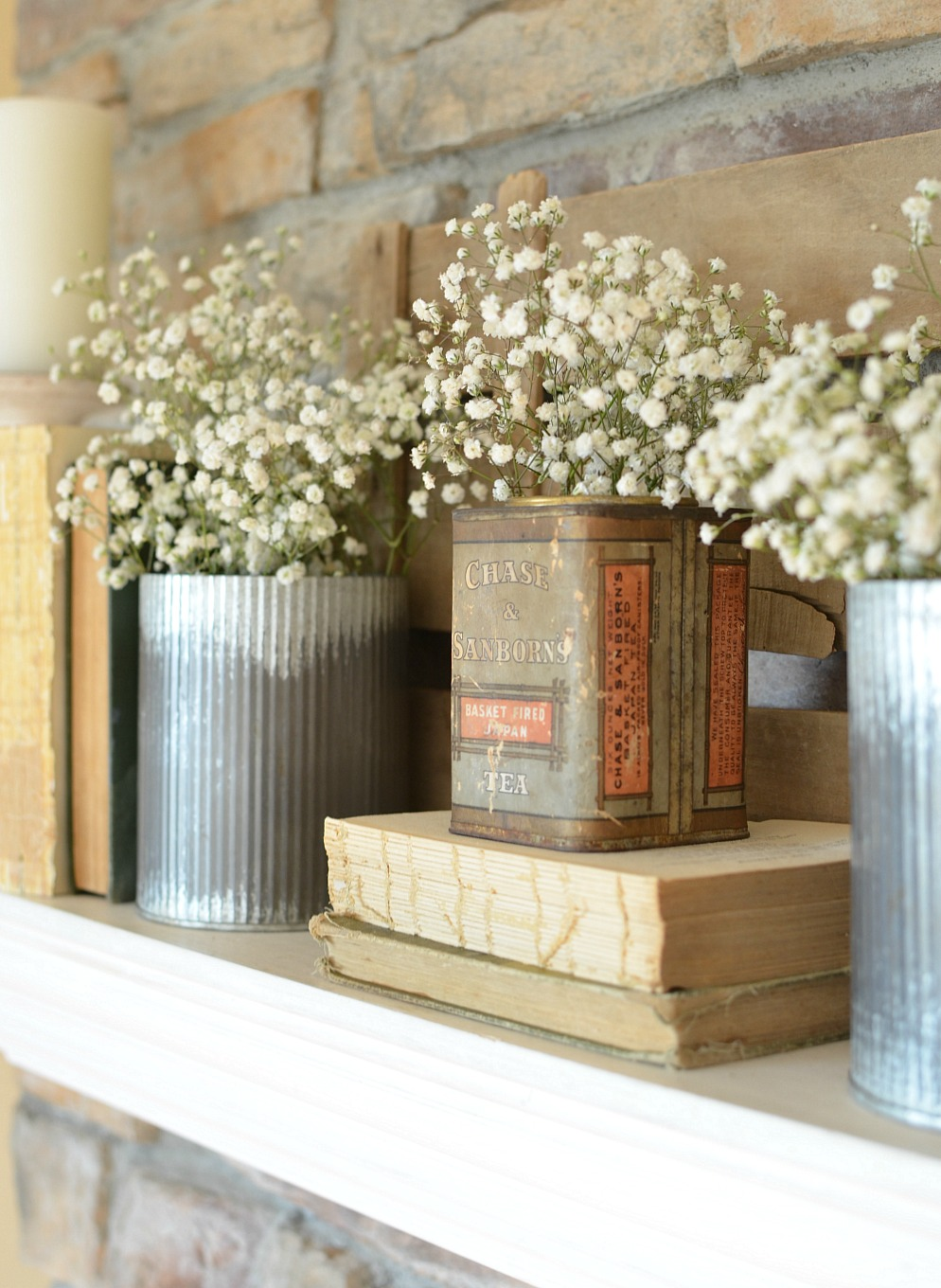A Vintage Can + Easy Spring Mantel