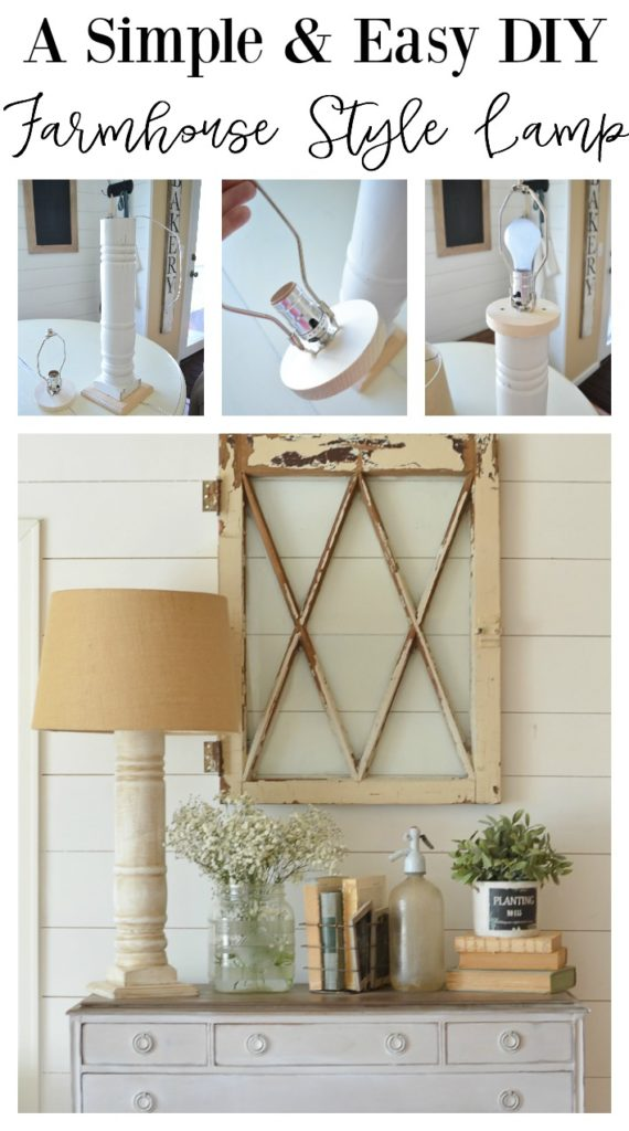 A simple and easy farmhouse style lamp made using a vintage porch railing.