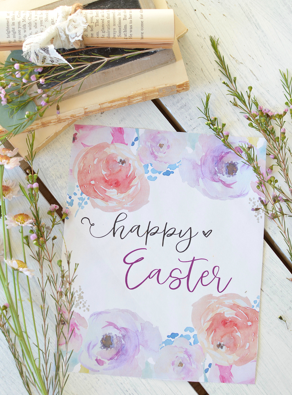 Free Happy Easter Printable with Watercolor Flowers
