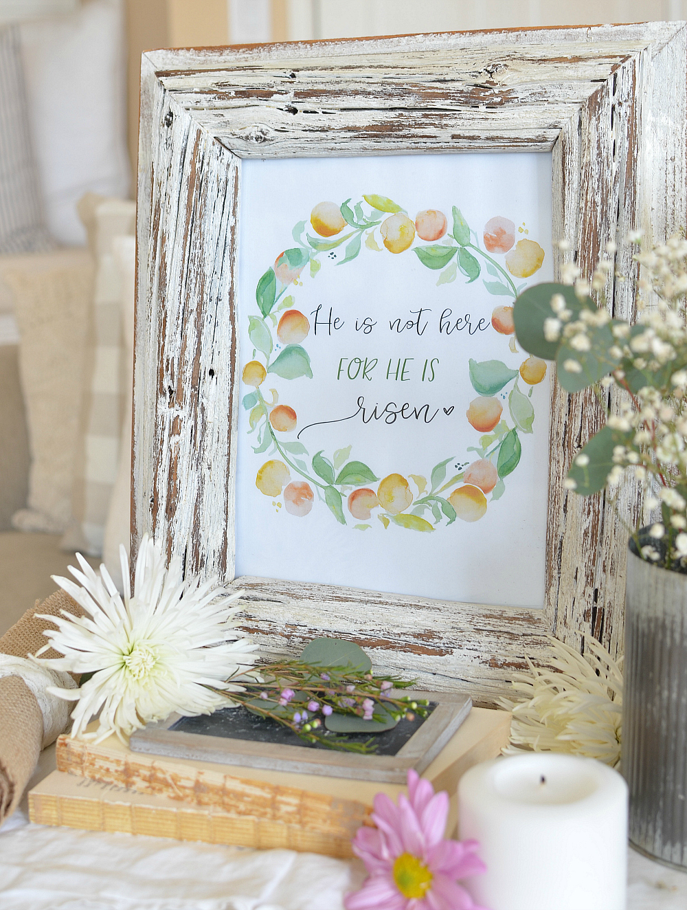 He is Risen Free Easter Printable. Easter Decor.