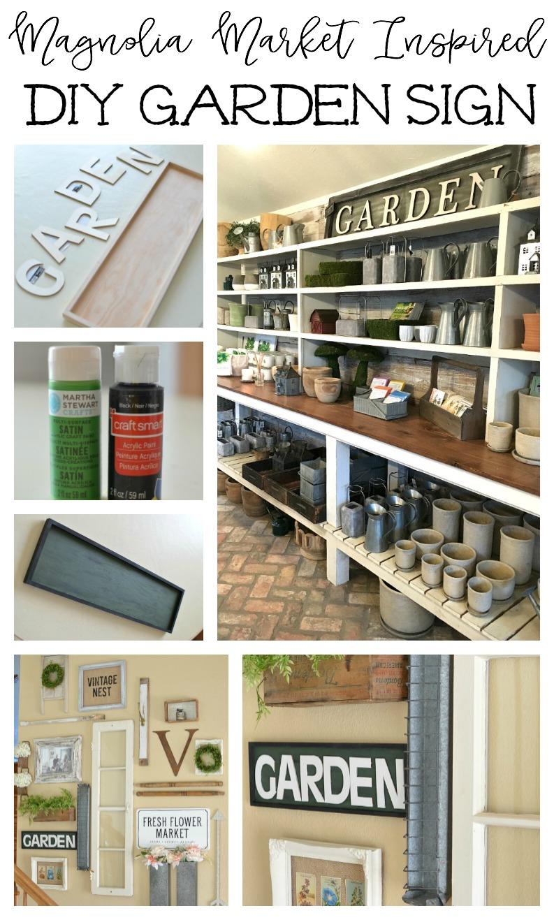 Magnolia Market Inspired DIY Garden Sign. Easy farmhouse style decor idea!