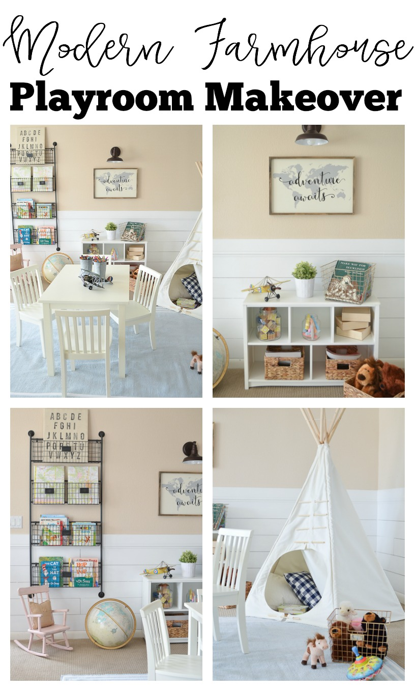 Modern Farmhouse Playroom Makeover. Gorgeous farmhouse style kids playroom.