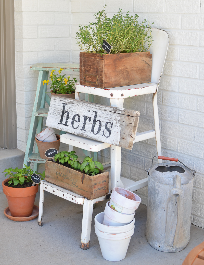 pictures of vintage herb gardens | DIY Herb Garden with Vintage Boxes