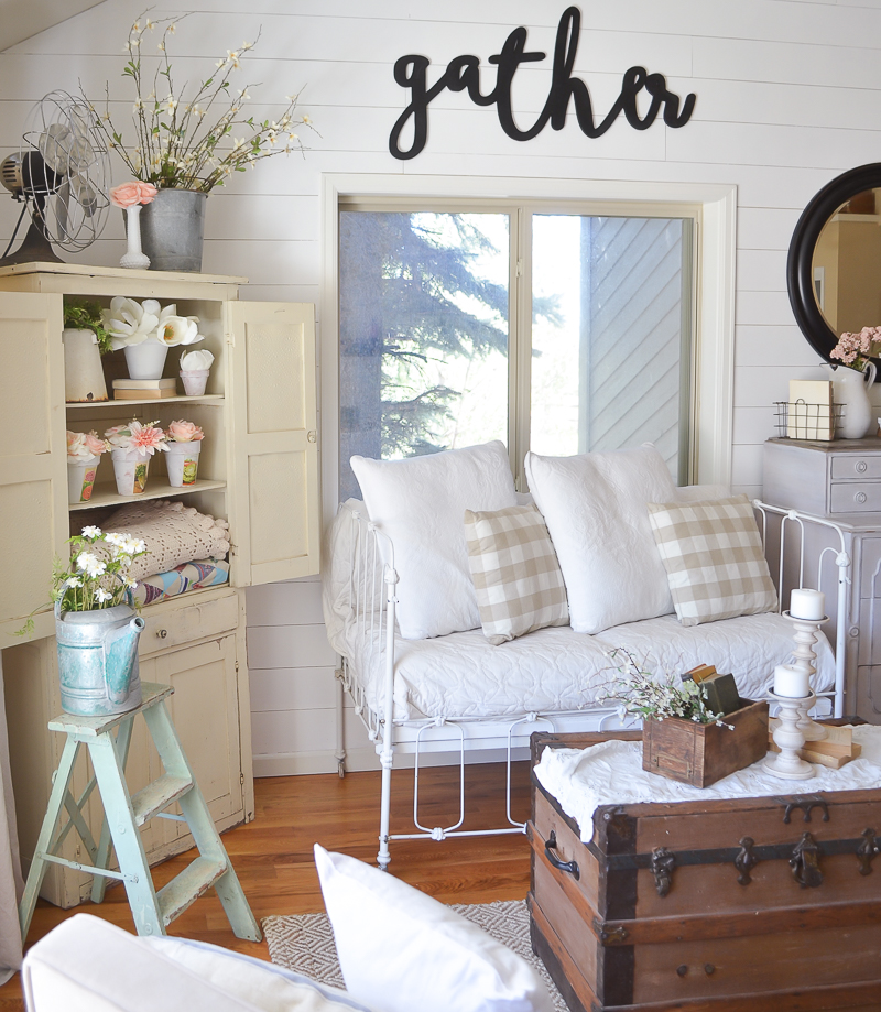 Vintage Farmhouse Decor in Living Room with Wooden Cutout Sign