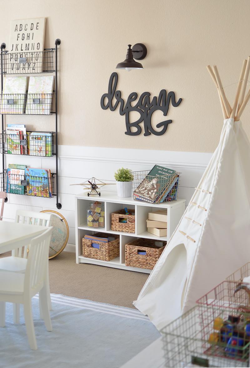 Neutral playroom decor. Farmhouse inspired playroom decor.