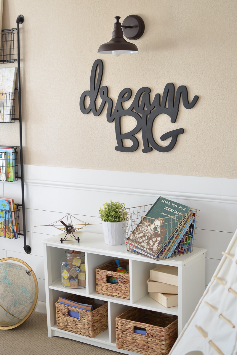 Modern Farmhouse Style Playroom for kids. Beautiful playroom design!