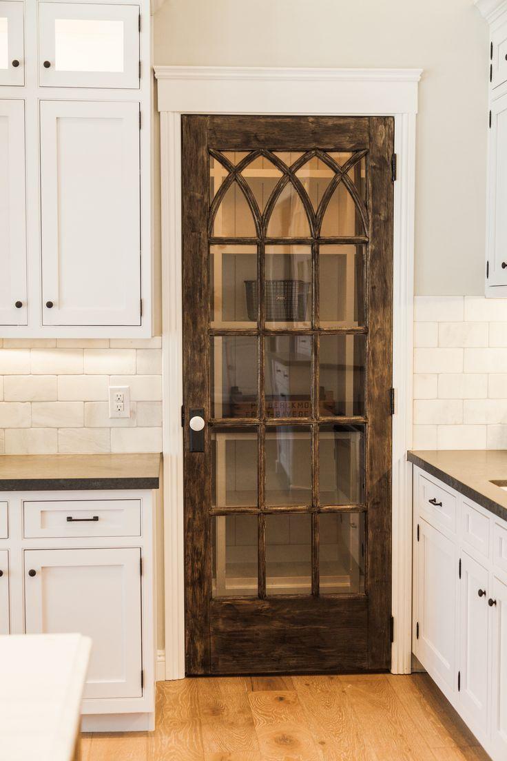 Vintage Door on Pantry. Farmhouse style kitchen.