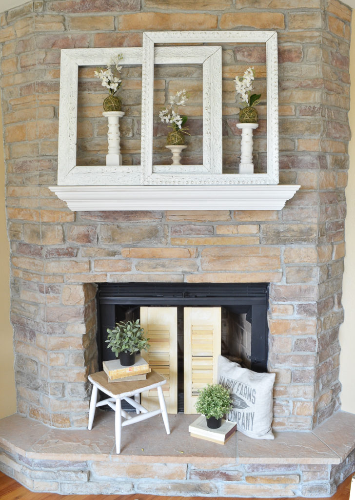 Vintage Frames in Farmhouse Style Mantel