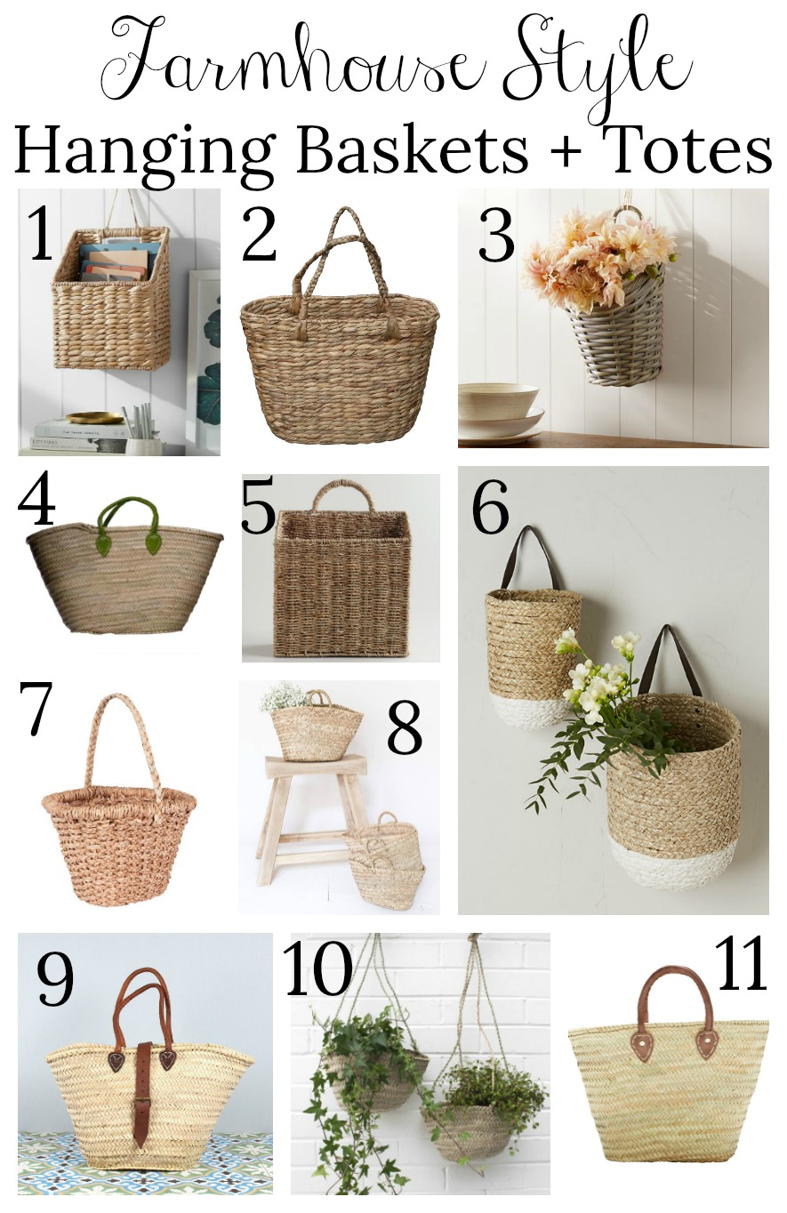Farmhouse Style Hanging Baskets and Totes