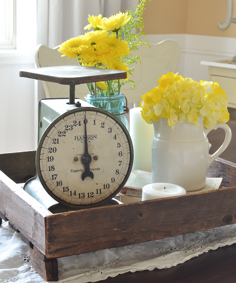 Easy centerpiece idea with a vintage scale