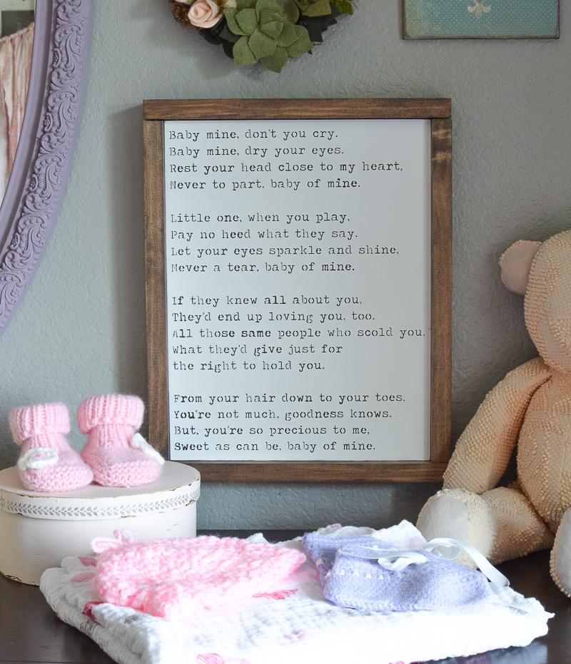 Farmhouse style sign for baby's nursery