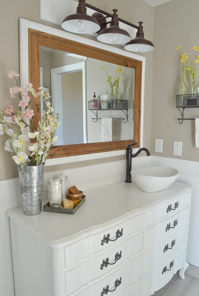 New And Improved Farmhouse Bathroom Vanities. How To Cover Bathroom Vanities  With A Clear Polycrylic ...