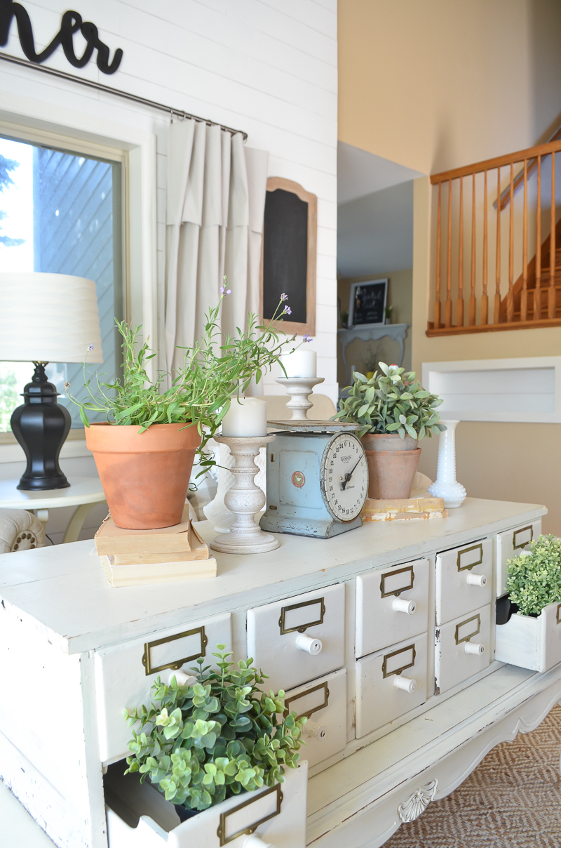 A Vintage Card Catalog in the Front Room. Great farmhouse style and cottage decor.