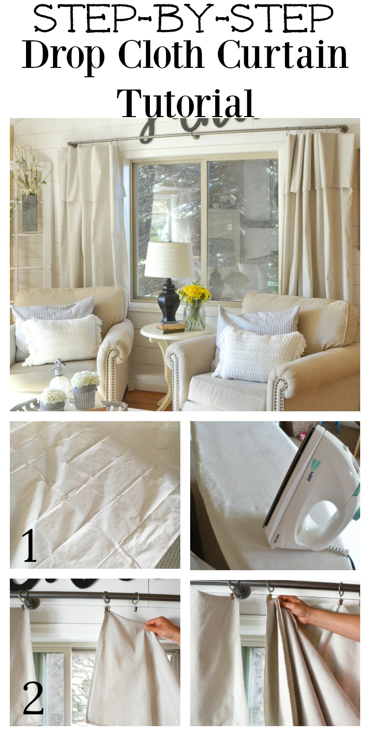 Step By Step Diagram Template: Step By Step Drop Cloth Curtain Tutorial