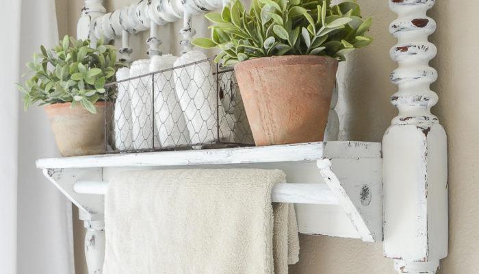 DIY Towel Bar from Vintage Bed Frame