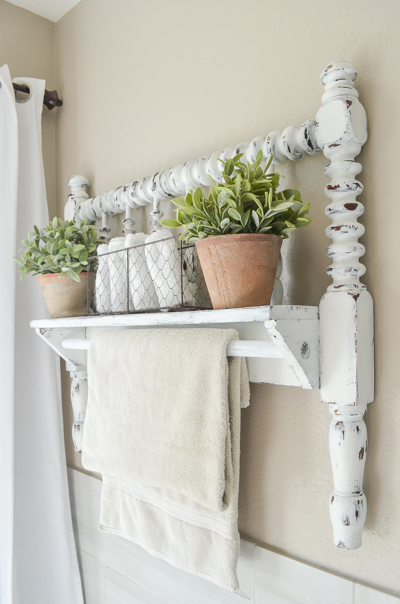 Diy Towel Bar From Vintage Bed Frame