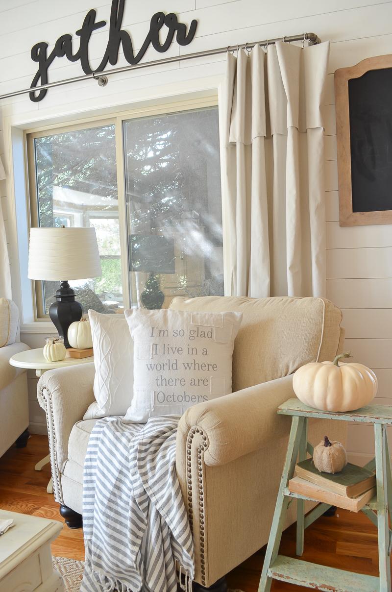 Farmhouse style fall decor and farmhouse style pillows.