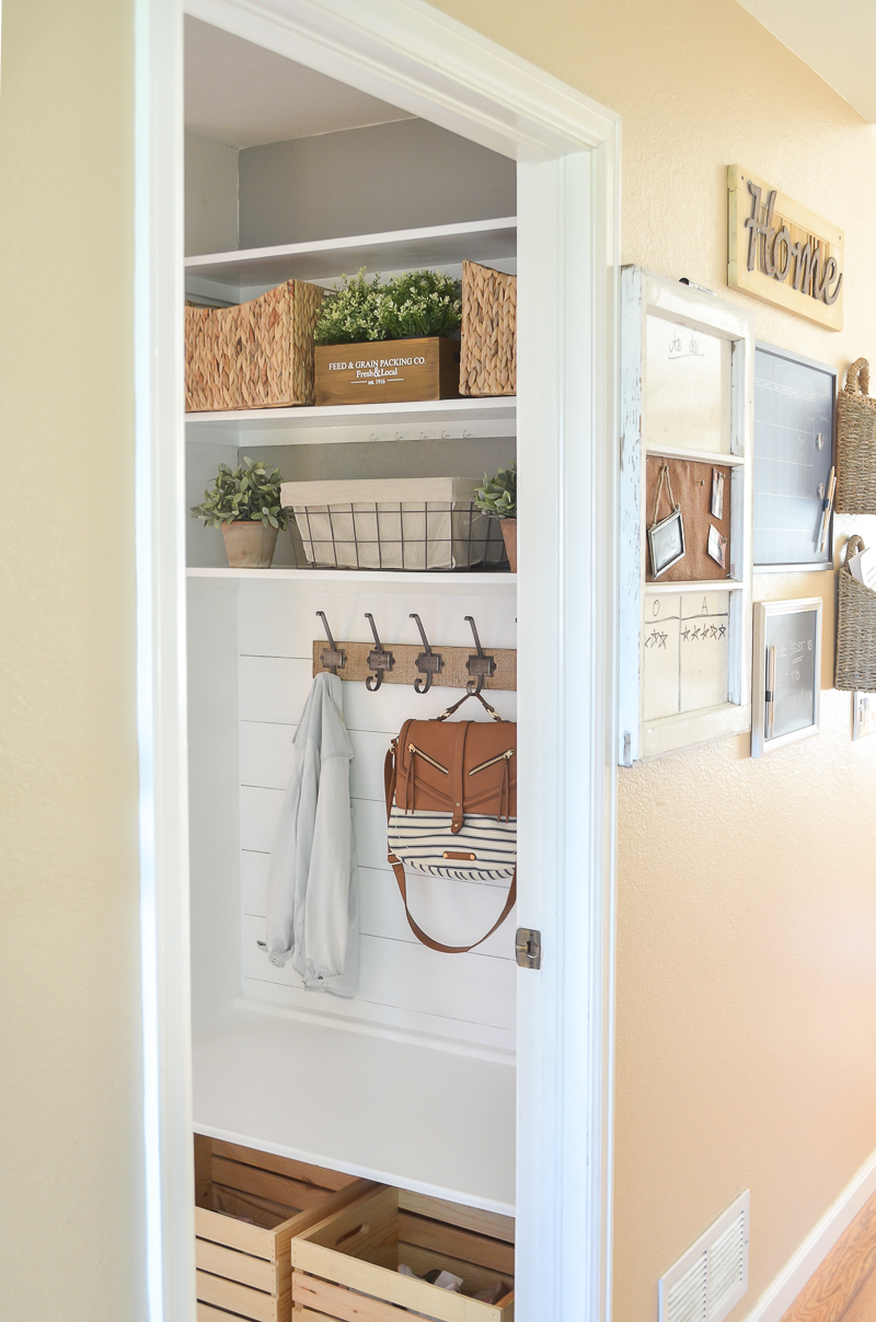 Beautiful and practical farmhouse style mudroom.