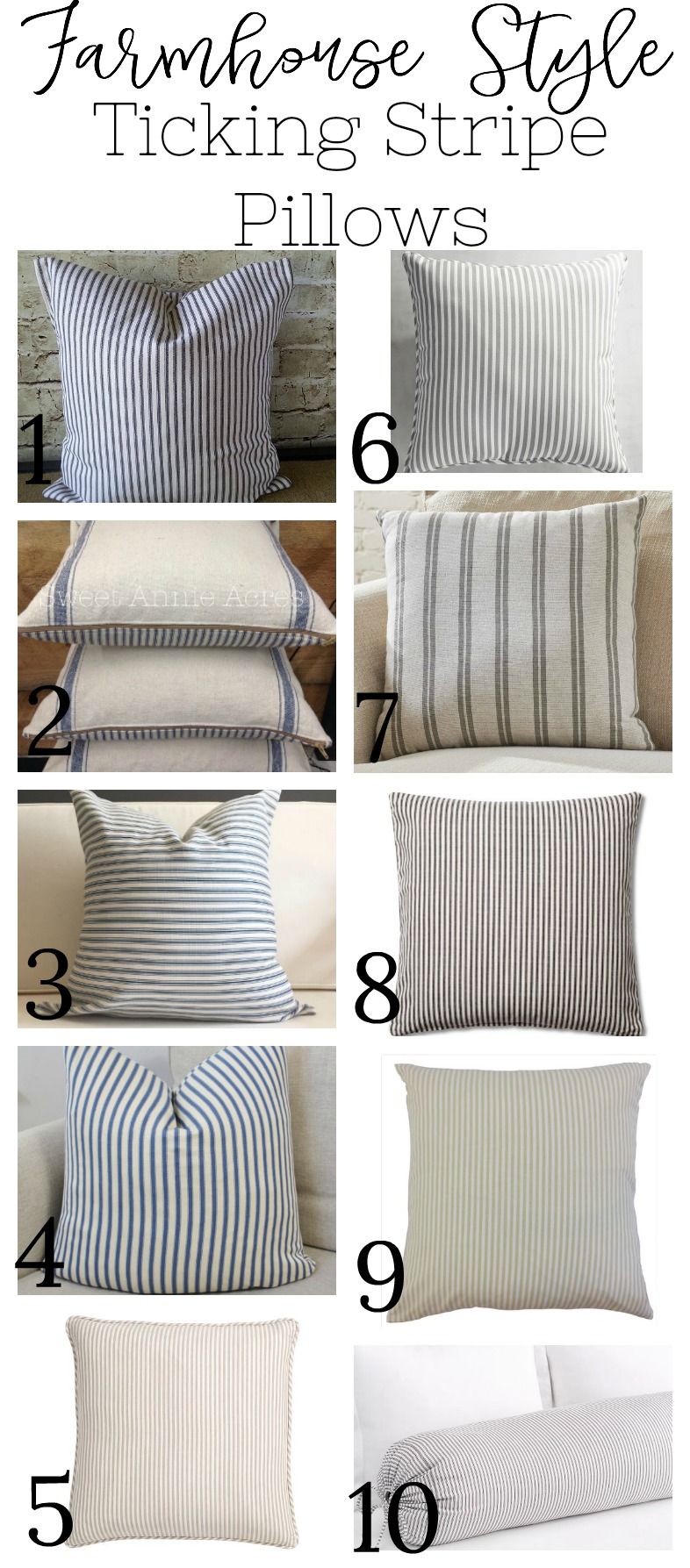 Farmhouse Style Ticking Stripe Pillows
