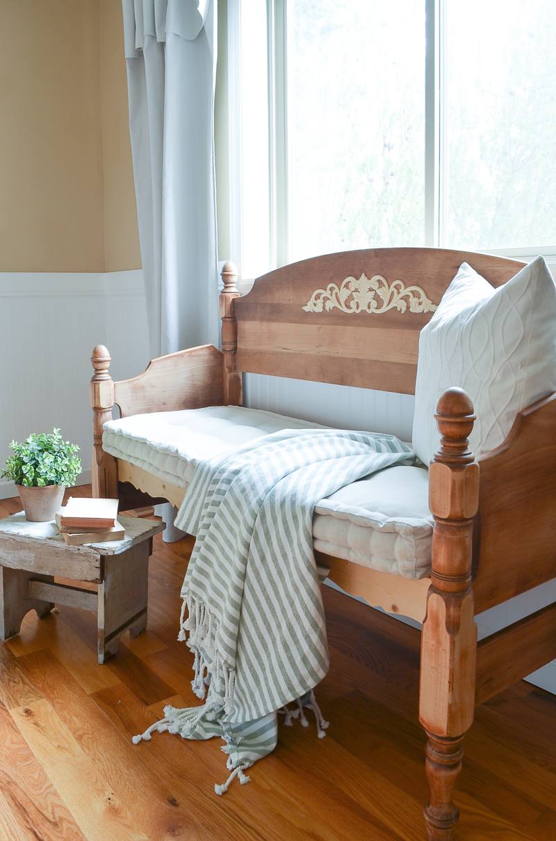 Farmhouse Style Headboard Bench