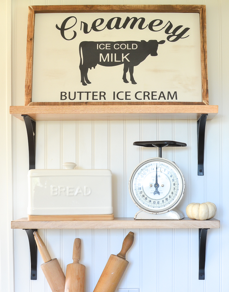 Farmhouse style kitchen decor. Cute creamery sign for the kitchen!