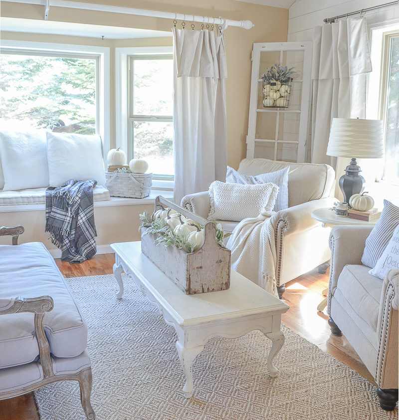 Neutral Farmhouse Style Fall Decor In The Front Room